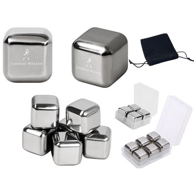 Laser Engraved Chilling Stainless Steel Whiskey Ice Cubes
